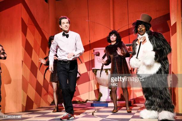 LIVE 'John Mulaney' Episode 1760 Pictured Host John Mulaney as the Bodega Man Cecily Strong as a cockroach and Kenan Thompson as the Bodega Cat...