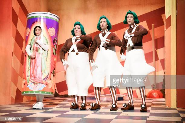 LIVE John Mulaney Episode 1760 Pictured Kate McKinnon with Aidy Bryant Kyle Mooney and Mikey Day as Oompa Loompas during the Bodega Bathroom sketch...