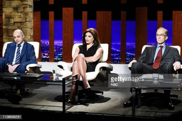 LIVE John Mulaney Episode 1760 Pictured Pete Davidson as Michael Avenatti Cecily Strong as Jeanine Pirro and host John Mulaney as Alan Dershowitz...