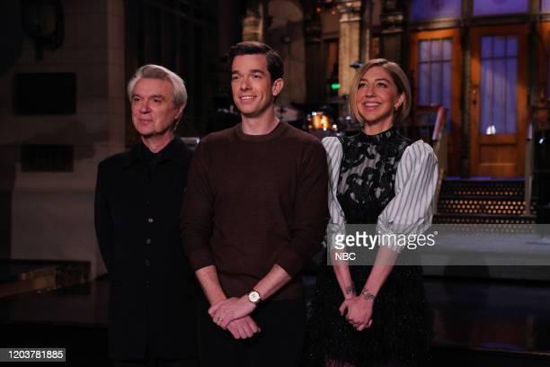 LIVE John Mulaney Episode 1781 Pictured Musical guest David Byrne host John Mulaney and Heidi Gardner during promos in Studio 8H on Thursday February...