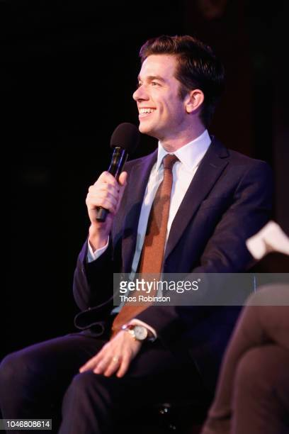 John Mulaney speaks on stage during the 2018 New Yorker Festival on October 6 2018 in New York City