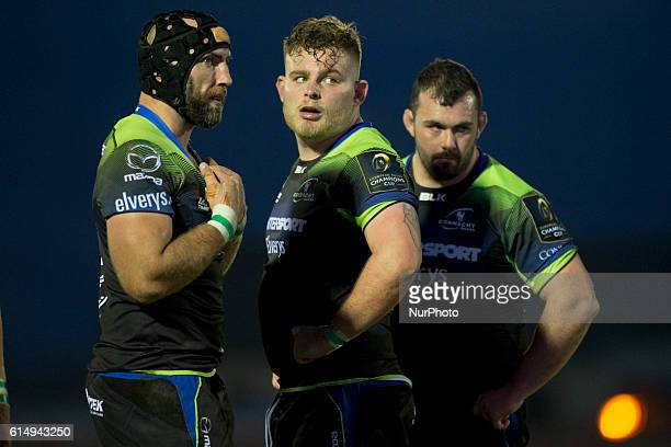 John Muldoon, Finlay Bealham and JP Cooney of Connacht pictured during the European Rugby Champions Cup Pool 2 match between Connacht Rugby and Stade...