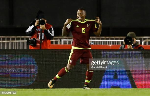 John Murillo of Venezuela celebrates after scoring the first goal of his team during a match between Argentina and Venezuela as part of FIFA 2018...