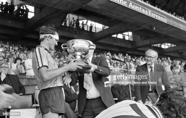 John Murphy Dublin Minor Captain with The Hanrahan Cup after defeating Wexford in the Leinster Minor Hurling Final at Croke Park, Dublin,