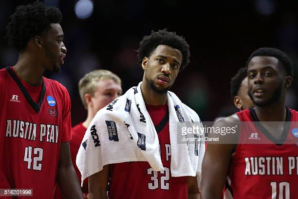 John Murry of the Austin Peay Governors and teammates look on after being defeated by the Kansas Jayhawks during the first round of the 2016 NCAA...