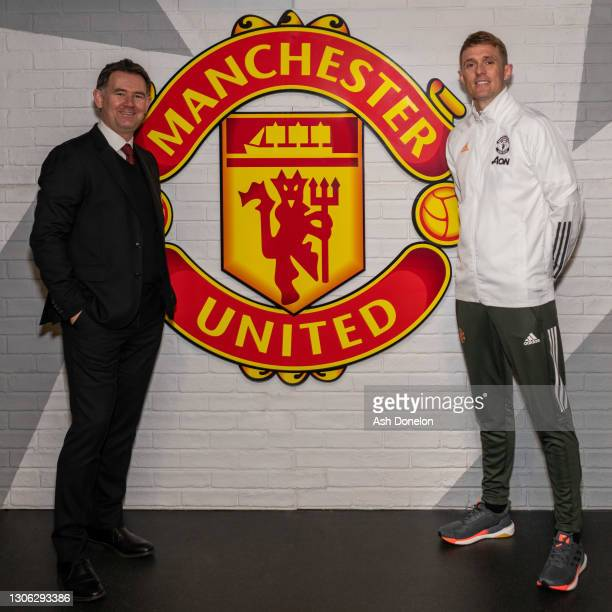 John Murtough and Darren Fletcher pose after being named Football Director and Technical Director of Manchester United at Aon Training Complex on...