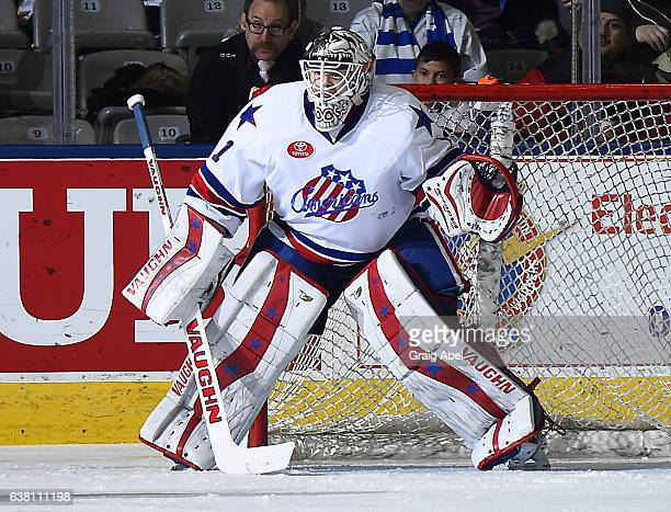 John Muse of the Rochester Americans prepares for a shot against the Toronto Marlies during AHL game action on January 8 2017 at Ricoh Coliseum in...