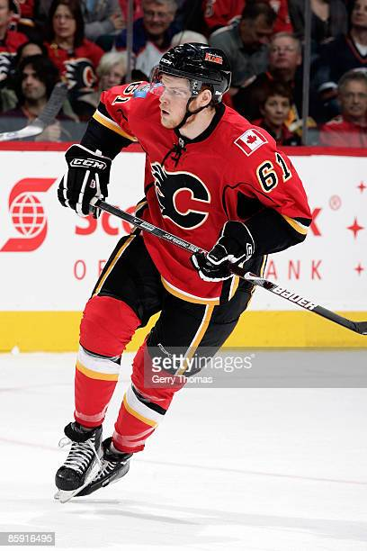 John Negrin of the Calgary Flames skates in his first NHL home game against the Edmonton Oilers on April 11 2009 at Pengrowth Saddledome in Calgary...