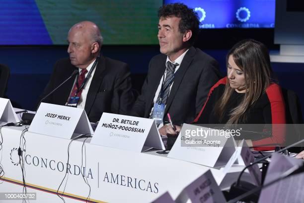 John Negroponte Josef Merx and Betilde MunozPogossian during conversation 'Venezuela the Local Crisis with Global Impact' as part of the 2018...