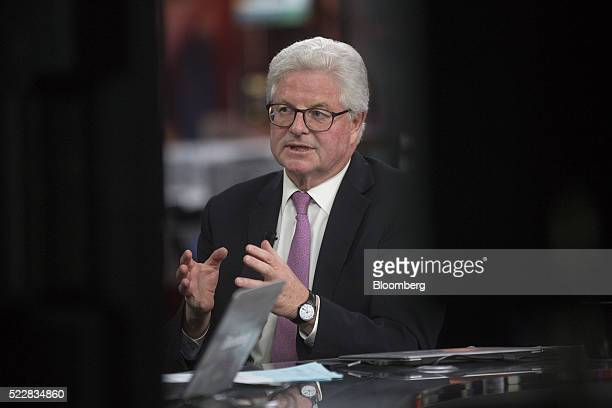 John Nelson chairman of Lloyd's of London speaks during a Bloomberg Television interview in London UK on Thursday April 21 2016 Lloyd's of London the...