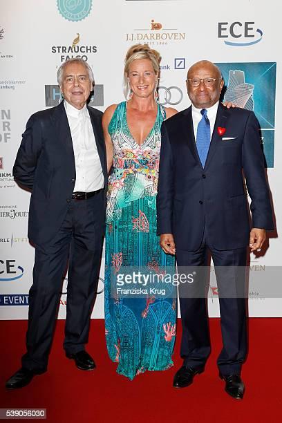John Neumeier Barbara Karan and Ian Kiru Karan attend the 'Das Herz im Zentrum' Charity Gala on June 9 2016 in Hamburg Germany