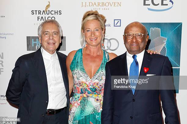 John Neumeier, Barbara Karan and Ian Kiru Karan attend the 'Das Herz im Zentrum' Charity Gala on June 9, 2016 in Hamburg, Germany.