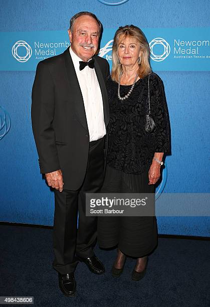 John Newcombe and Angelika Pfannenburg arrive at the 2015 Newcombe Medal at Crown Palladium on November 23 2015 in Melbourne Australia