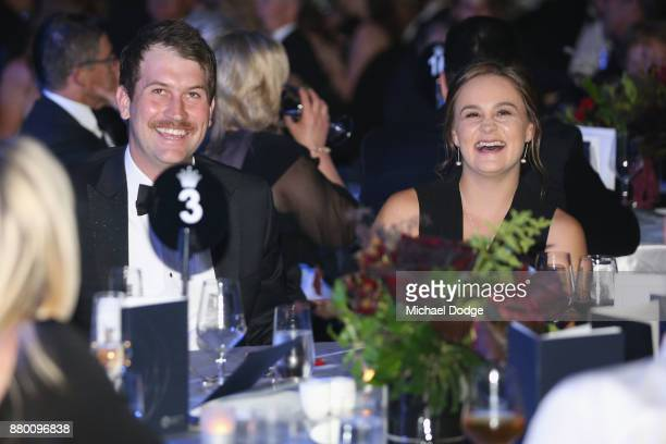 John Newcombe medallist Ashleigh Barty enjoys the atmposphere with her boyfriend Garry Kissick at the 2017 Newcombe Medal at Crown Palladium on...