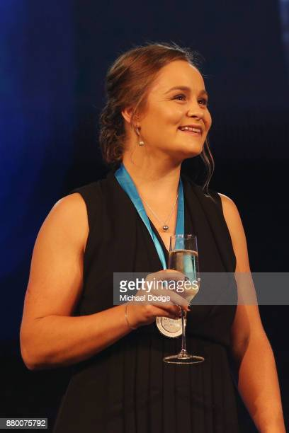 John Newcombe medallist Ashleigh Barty on stage at the 2017 Newcombe Medal at Crown Palladium on November 27 2017 in Melbourne Australia