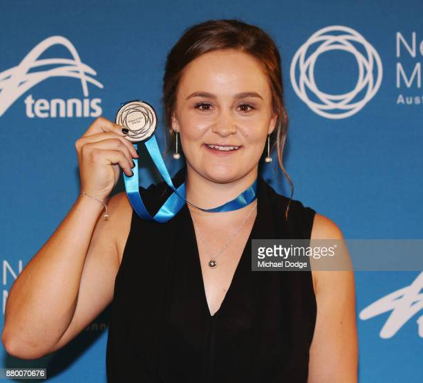John Newcombe medallist Ashleigh Barty poses at the 2017 Newcombe Medal at Crown Palladium on November 27 2017 in Melbourne Australia