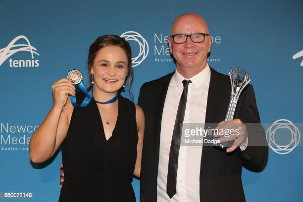 John Newcombe medallist Ashleigh Barty poses with coach Craig Tyzzer at the 2017 Newcombe Medal at Crown Palladium on November 27 2017 in Melbourne...