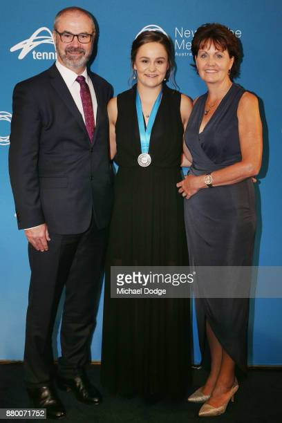 John Newcombe medallist Ashleigh Barty poses with dad Robert and mum Josie arrives at the 2017 Newcombe Medal at Crown Palladium on November 27 2017...