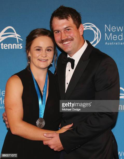John Newcombe medallist Ashleigh Barty poses with her boyfriend Garry Kissick at the 2017 Newcombe Medal at Crown Palladium on November 27 2017 in...
