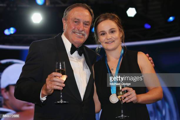 John Newcombe medallist Ashleigh Barty poses with John Newcombe at the 2017 Newcombe Medal at Crown Palladium on November 27 2017 in Melbourne...
