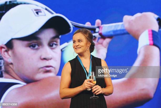 John Newcombe medallist Ashleigh Barty reacts on stage at the 2017 Newcombe Medal at Crown Palladium on November 27 2017 in Melbourne Australia