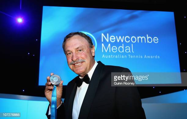 John Newcombe poses with the Newcombe Medal at the Newcombe Medal Awards at Melbourne Park on December 3 2010 in Melbourne Australia