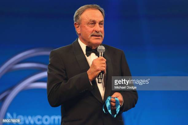 John Newcombe presents his medal at the 2017 Newcombe Medal at Crown Palladium on November 27 2017 in Melbourne Australia