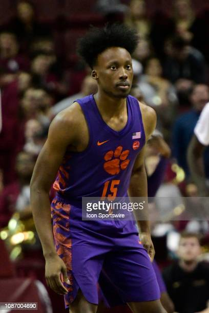 John Newman III guard Clemson University Tigers sets on defense against the Florida State University Seminoles during an Atlantic Coast Conference...