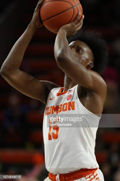 John Newman III guard of Clemson shoots a foul shot during a college basketball game between the Charleston Southern Buccaneers and the Clemson...
