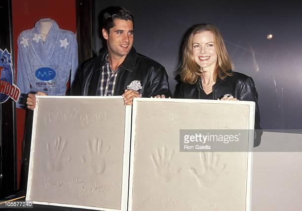 John Newton and Marcia Cross during Melrose Place Handrint Ceremony at Planet Hollywood in New York City New York United States