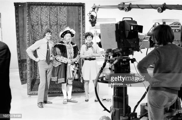 John Noakes dressed as Henry VIII during the filming of Blue Peter Left to right Peter Purves John Noakes dressed as Henry VIII and Val Singleton 5th...