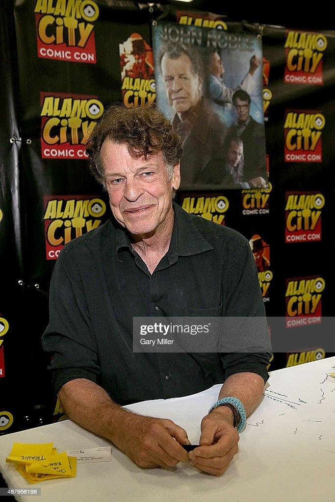 John Noble poses in between meeting with fans during the Alamo City Comic Con at Henry B. Gonzalez Convention Center on September 12, 2015 in San Antonio, Texas.