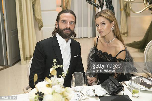 John Nollet and Elizabeth Sulcer attend the Swarovski Celebrates 10 Seasons X Alexandre Vauthier cocktail and dinner at Hotel Ritz on January 24 2017...