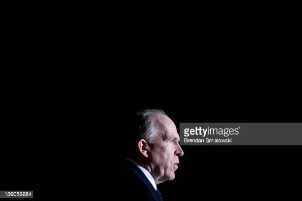 John O Brennan White House counterterrorism advisor speaks during a memorial service for the Pan Am Flight 103 Lockerbie bombing at Arlington...
