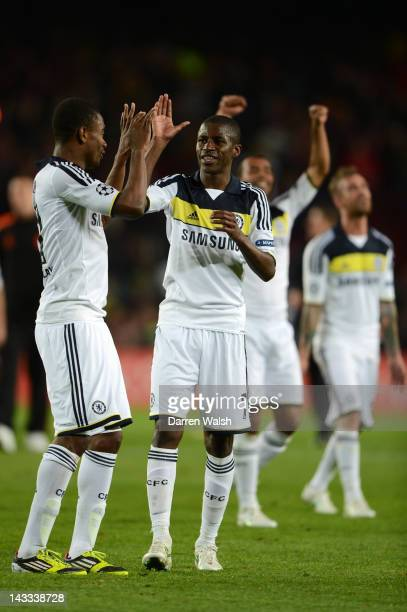 John Obi Mikel and Ramires of Chelsea celebrate at the final whistle during the UEFA Champions League Semi Final, second leg match between FC...
