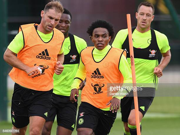 John Obi Mikel Branislav Ivanovic Willian John Terry during a Chelsea training session at Chelsea Training Ground on July 12 2016 in Cobham England