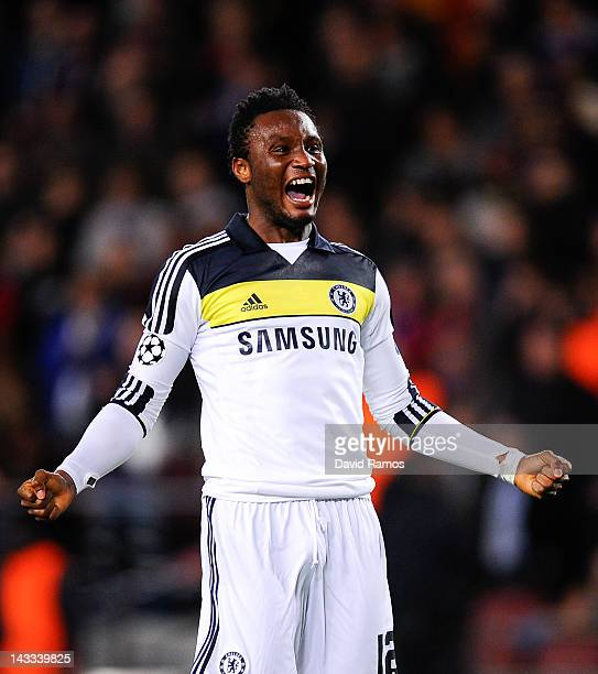 John Obi Mikel of Chelsea celebrates at the end of the UEFA Champions League Semi Final second leg match between FC Barcelona and Chelsea FC at Camp...