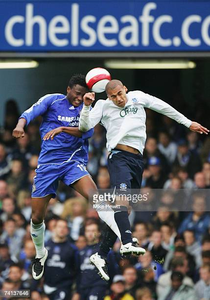 John Obi Mikel of Chelsea challenges James Vaughan of Everton during the Barclays Premiership match between Chelsea and Everton at Stamford Bridge on...