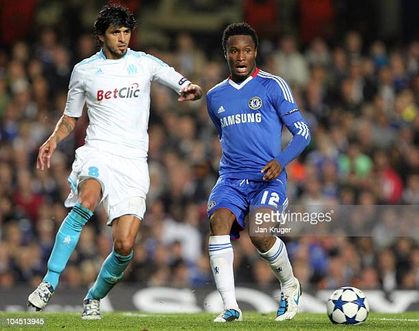 John Obi Mikel of Chelsea controlls the ball from Lucho Gonzalez of Marseille during the UEFA Champions League Group F match between Chelsea and...
