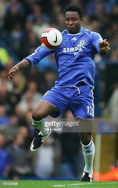 John Obi Mikel of Chelsea controls the ball during the Barclays Premiership match between Chelsea and Everton at Stamford Bridge on May 13 2007 in...