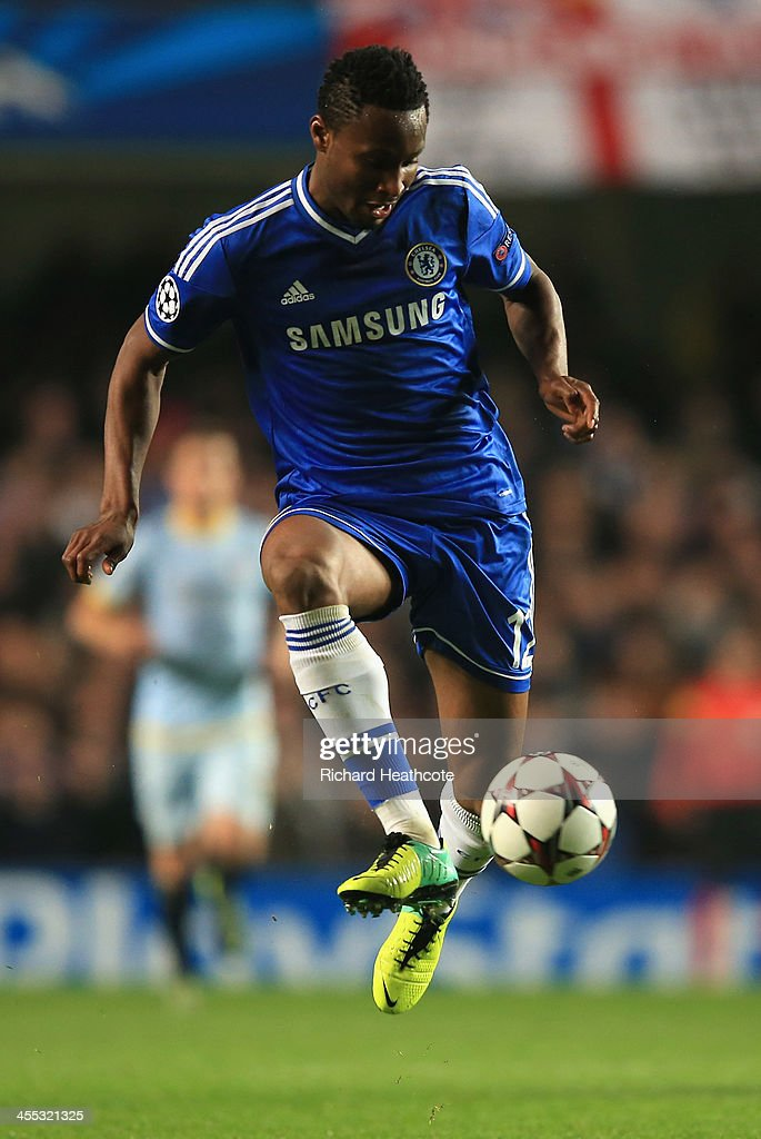 John Obi Mikel of Chelsea during the UEFA Champions League group E match between Chelsea and Steaua Bucuresti at Stamford Bridge on December 11, 2013 in London, England.