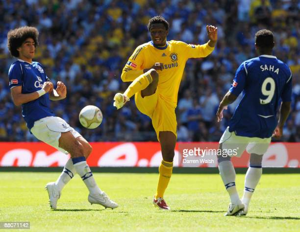 John Obi Mikel of Chelsea is closed down by Marouane Fellaini of Everton during the FA Cup sponsored by EON Final match between Chelsea and Everton...