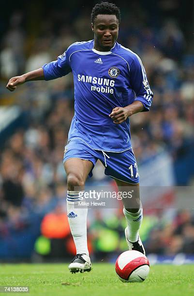 John Obi Mikel of Chelsea passes the ball during the Barclays Premiership match between Chelsea and Everton at Stamford Bridge on May 13 2007 in...