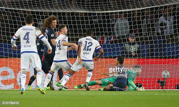 John Obi Mikel of Chelsea scores during the UEFA Champions League Round of 16 First Leg match between Paris SaintGermain and Chelsea at Parc des...