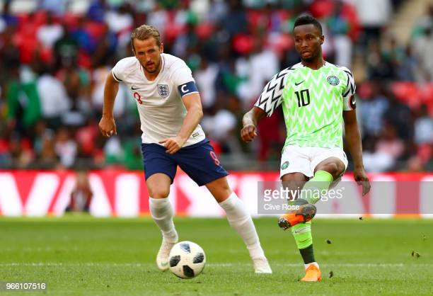 John Obi Mikel of Nigeria and Harry Kane of England in action during the International Friendly match between England and Nigeria at Wembley Stadium...