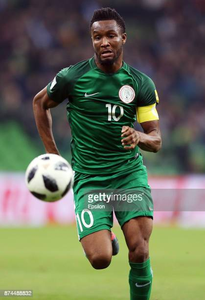 John Obi Mikel of Nigeria drives the ball during an international friendly match between Argentina and Nigeria at Krasnodar Stadium on November 14...