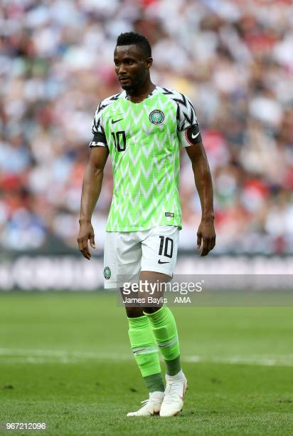 John Obi Mikel of Nigeria during the International Friendly between England and Nigeria at Wembley Stadium on June 2 2018 in London England