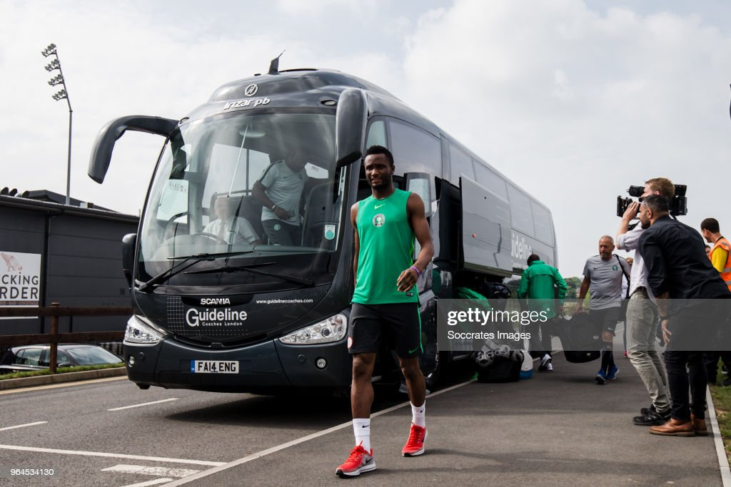 John Obi Mikel of Nigeria during the Nigeria Training at the The hive on May 31, 2018 in Barnet United Kingdom