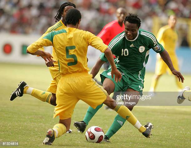 John Obi Mikel of Nigeria in action during the AFCON and 2010 World Cup Qualifier between Nigeria and South Africa at Abuja Stadium on June 01 2008...