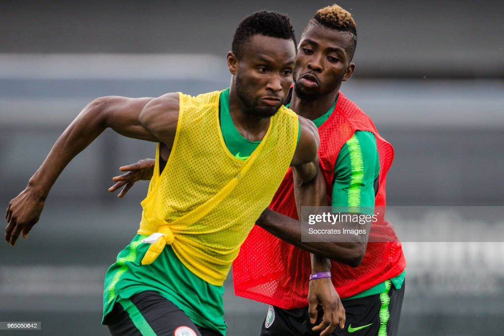 John Obi Mikel of Nigeria, Kelechi Iheanacho of Nigeria during the Nigeria Training at the The hive on May 31, 2018 in Barnet United Kingdom
